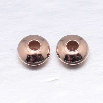 Véritable plaqué or rose rondes séparateurs perles plat en argent sterlingSTER-M103-01-4mm-RG-1