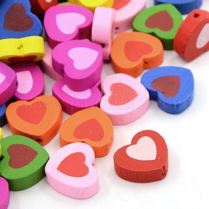 Mixed Color Wood Heart Beads Nice for Children's Day Jewelry MakingX-TB181Y-1