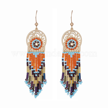 CRAFTDADY® Seed Beads Dangle Earrings EJEW-CD0001-01-1
