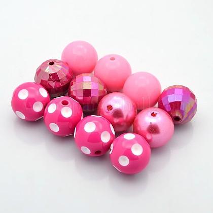 Redondas abalorios de acrílico bubblegum gruesoMACR-X0005-02-1