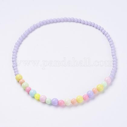 Bola de acrílico maciza de chicle gruesa bolas niños collaresNJEW-JN02091-02-1