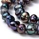 Cuentas de perlas de agua dulce cultivadas naturales hebras de perlasPEAR-R012-04-3