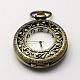 Cabezas vendimia huecos planos redondos de aleación de zinc reloj de cuarzo reloj de bolsillo para el collar del colganteWACH-R005-40-1