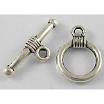 Tibetan Silver Toggle Clasps, Lead Free & Cadmium Free & Nickel Free, Round, Antique Silver, Round: about 11mm wide, 15mm long, Bar: about 2.5mm wide, 20mm long, hole: 2mm