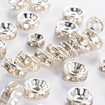 Iron Rhinestone Spacer Beads, Grade B, Rondelle, Mixed Style, Silver Color Plated, 6~8x3~3.5mm, Hole: 1mm