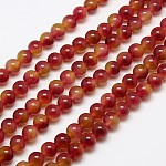 Natural Malaysia Jade Bead Strands, Round Dyed Beads, Red, 8mm, Hole: 1mm; about 48pcs/strand, 15