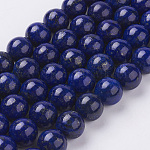 Natural Lapis Lazuli Beads Strands, Dyed, Round, Blue, 12mm, Hole: 1mm, about 16pcs/strand, 7.6 inches