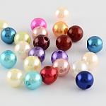 Абс пластмасса имитация жемчужина круглые бусины, разноцветные, 12 мм, Отверстие : 2 мм ; около 550 шт / 500 г