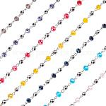 Olycraft Glass Rondelle Beads Chains for Necklaces Bracelets Making, with Electroplate Round Glass Beads and Iron Eye Pin, Unwelded, Mixed Color, 39.3 inches, 7 colors, 2strands/color, 14strands/box