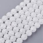 Synthetic Crackle Quartz Beads Strands, 128 Facets, Round, White, 8mm, Hole: 1mm, about 50pcs/strand, 16