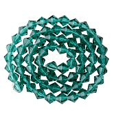 Faceted Imitation Austrian Crystal Bead Strands, Grade AAA, Diamond, Teal, 6x6mm, Hole: 1mm; about 68pcs/strand, 15.7