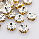 Brass Rhinestone Spacer Beads, Grade AAA, Wavy Edge, Nickel Free, Silver Color Plated, Rondelle, Topaz, 8x3.8mm, Hole: 1.5mm