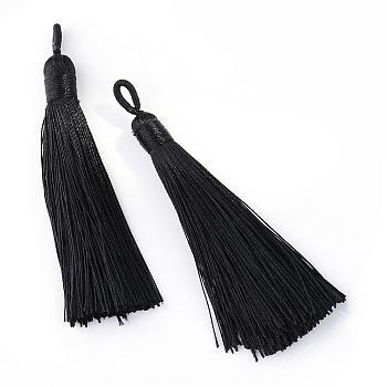 Polyester Tassel Big Pendants Decoration, Black, 80~90x8.5~9mm, Hole: 4x6mm