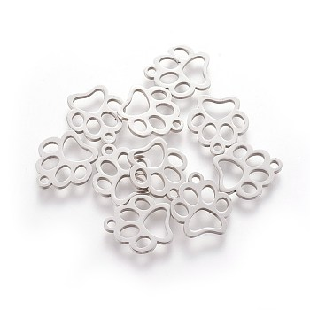 304 Stainless Steel Charms, Dog Paw Prints, Stainless Steel Color, 12.9x11.8x1mm, Hole: 1.5mm