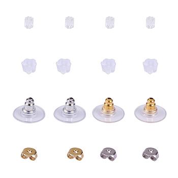 Tuercas de oreja de latón, latón con pendientes de plástico bullet espaldas, pendientes de goma de plástico, oro y plata