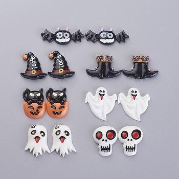 Хэллоуин тема смола кабошоны, разнообразные, разноцветные, 8.2x8.2x2.7 см, 35 шт / коробка