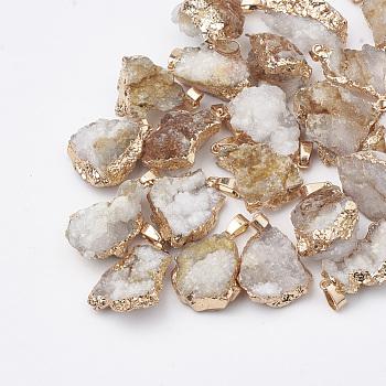 Естественно druzy агат подвески, друзы подстриженный камень, окрашенные, самородки, серый, 23~40x13~30x7~20 мм, отверстие : 3x6 мм