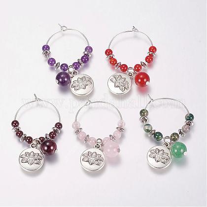 Natural Gemstone Wine Glass CharmsAJEW-JO00154-1