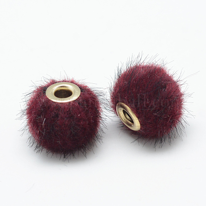 Handmade Faux Mink Fur European BeadsX-OPDL-S089-02C-1