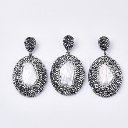 Colgantes grandes de perlas naturales de agua dulceRB-Q215-003-1