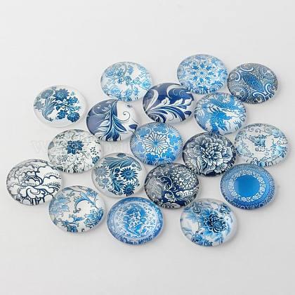 Azul y blanco florales impresos cabuchones de vidrioGGLA-A002-14mm-XX-1